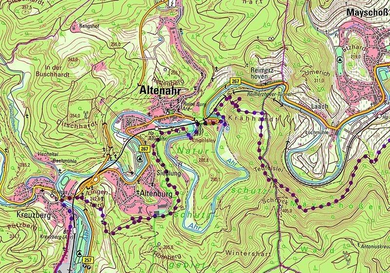Karte, Kartenausschnitt, AhrSteig-Lückenschluss: Dieser Kartenausschnitt zeigt den Verlauf des neuen AV im oberen Bereich von Kreuzberg bis Mayschoss
