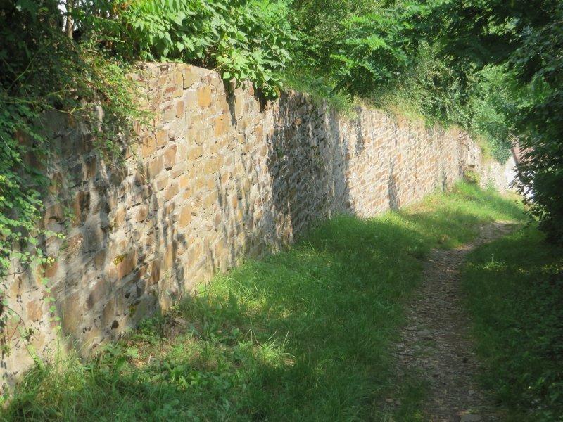 Weg, Grün, Schatten, Mauer, Steinmauer: Die Steinmauer kündet das Ende der Etappe an