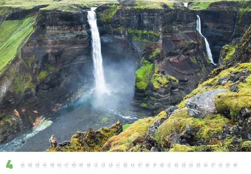 Das Aprilblatt ziert Islands dritthöchster Wasserfall, der Haifoss (Fotografie: Dan Patitucci)