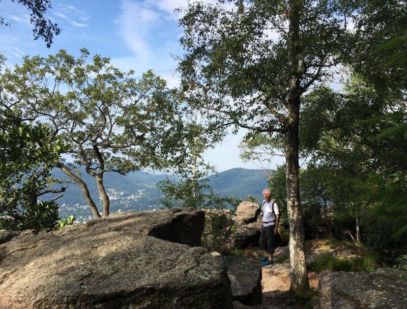 Mann mit grauen Haaren unter grünen Bäumen auf einem Felsplateau