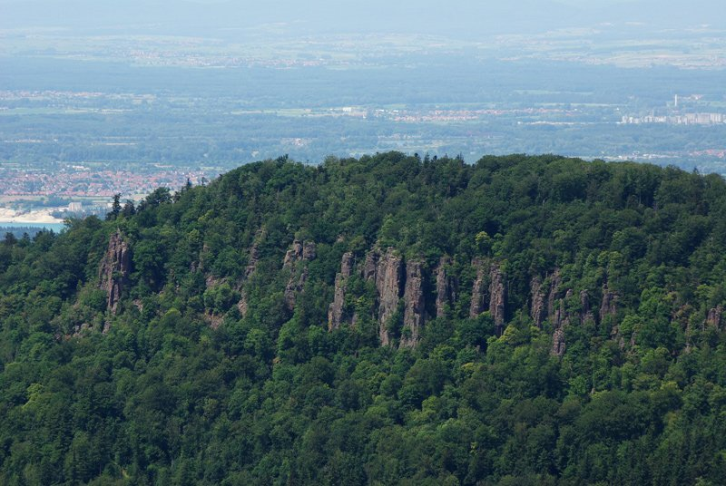grün bewaldete Bergkuppe des Battert, im Vordergrund die Kletterfelsen