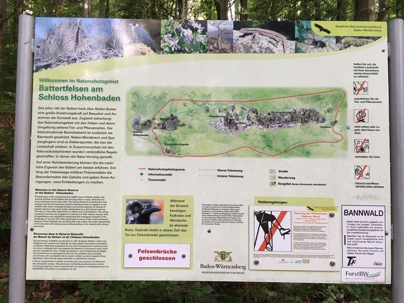 Übersichtskarte am Wanderparkplatz. Darauf sind schön der obere und der untere Felsenweg zu erkennen.