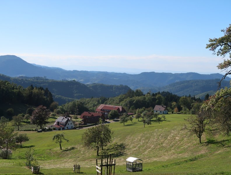 Blick vom Waldrand auf eine kleine Ansiedlung, dahinter das gewaltige Panorama der Schwarzwälder Berge
