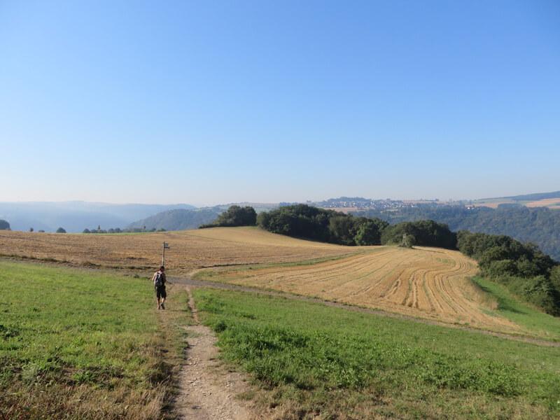 Ein Hochplateau, mit Wiesen und Ackerflächen. Am Rande des Plateaus, ein kleiner Waldsaum. Ein Wanderer bewegt sich über die Hochfläche. Darüber spannt sich ein blauer Himmel.