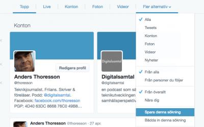 Sparade sökningar sparar tid på Twitter