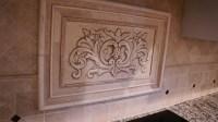 Hand pressed Floral tiles installed in kitchen backsplash