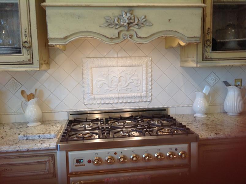 backsplash tiles kitchen penny tile hand pressed floral installed in