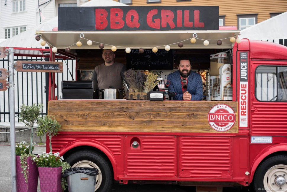 The L'Unico BBQ grill, aka the Rescue Juice wagon, was the only proper food truck at the festival