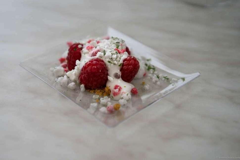 Raspberries from Brimse gård, with a lemon cream and frozen elderflower meringue
