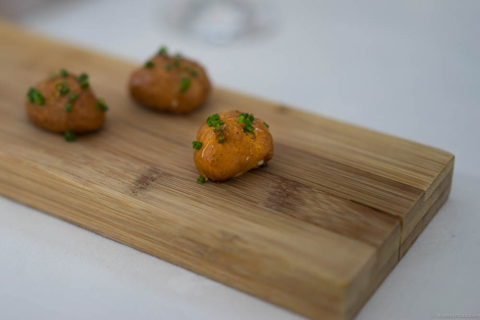 An amuse bouche of fried, honey glazed goat cheese with chives. Tasty! You're left wanting more than a tiny bite. It serves its purpose