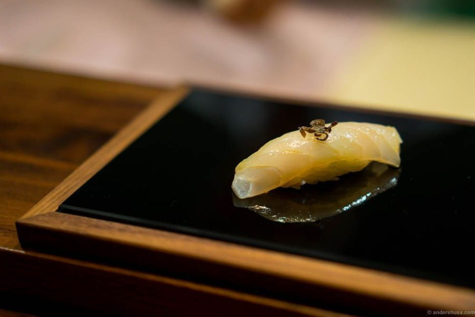 Cod from the Northern Sea with shio kombu. Kombu is a seaweed and shio means it has been boiled in soy sauce and cut into strips