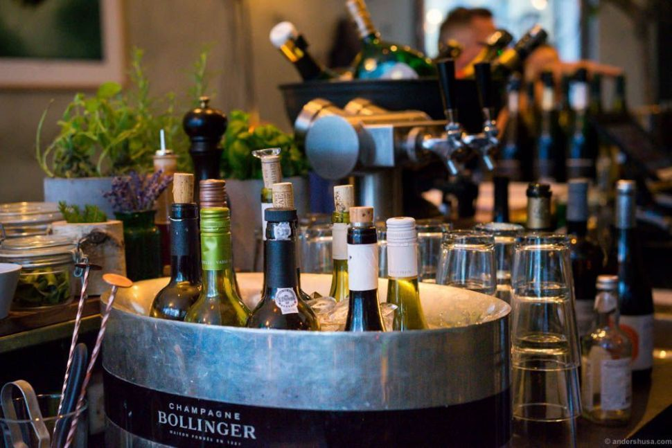 Selected wines swimming in the Bollinger Champagne cooler.