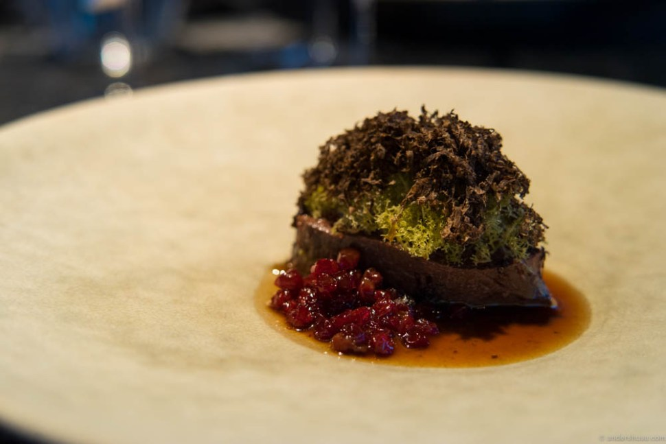 Reindeer filet braised with juniper, served with reindeer lichen, truffle and lingonberries.