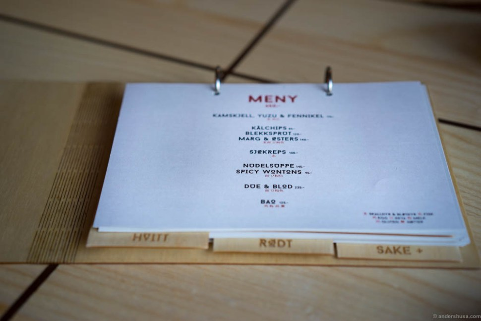 The tasting menu.