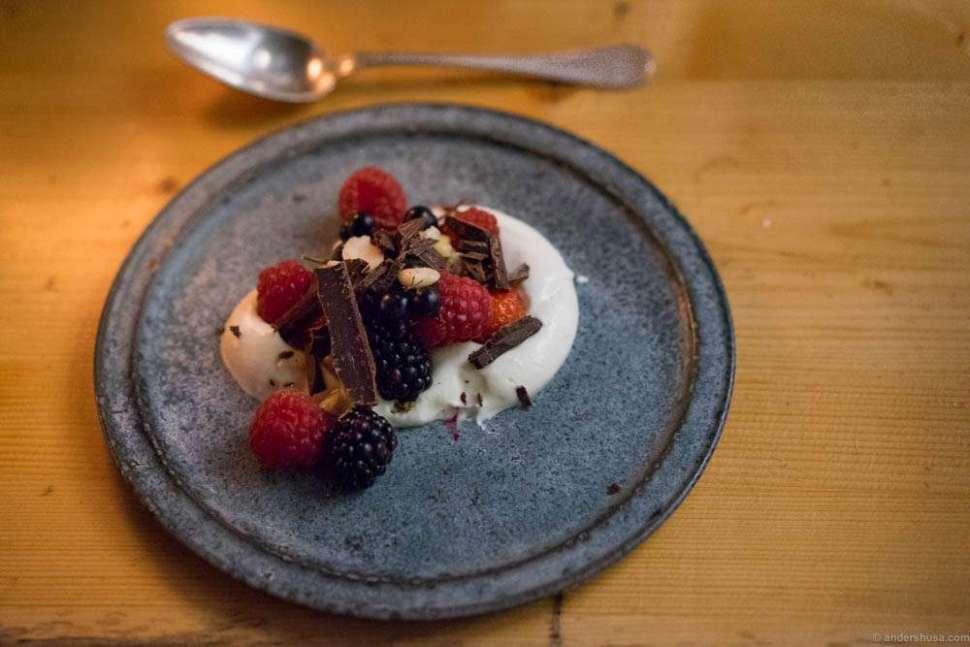 Desserts. Fresh berries, cream and chocolate
