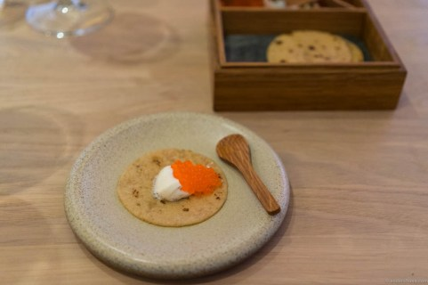 Swedish soft flatbread with smoked sour cream and roe