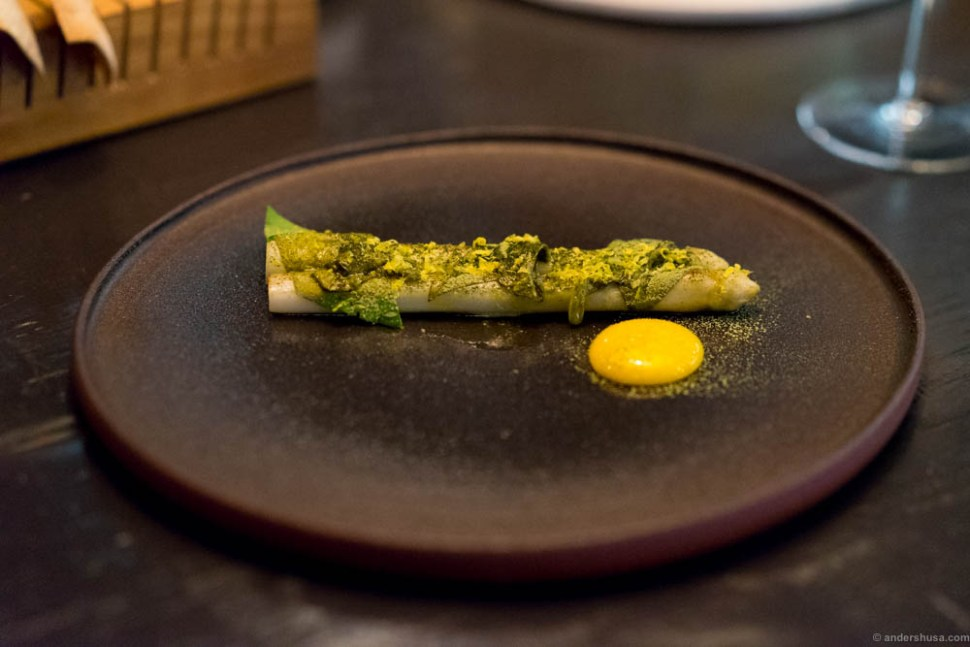White asparagus, green matcha tea & egg yolk