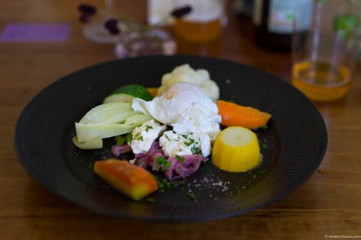 "Boiled vegetables in season, poached egg and Danish smoked fresh cheese ""rygeost"""