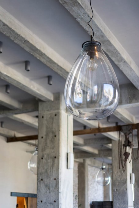 Loving these huge hand-blown bulbs to encapsule the light bulbs