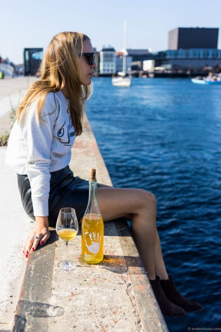 This is Copenhagen for me! Enjoying a bottle of natural wine – Lammidia Bianchetto – on the pier outside 108