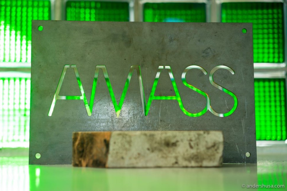 Amass' industrial sign in the entrance area.