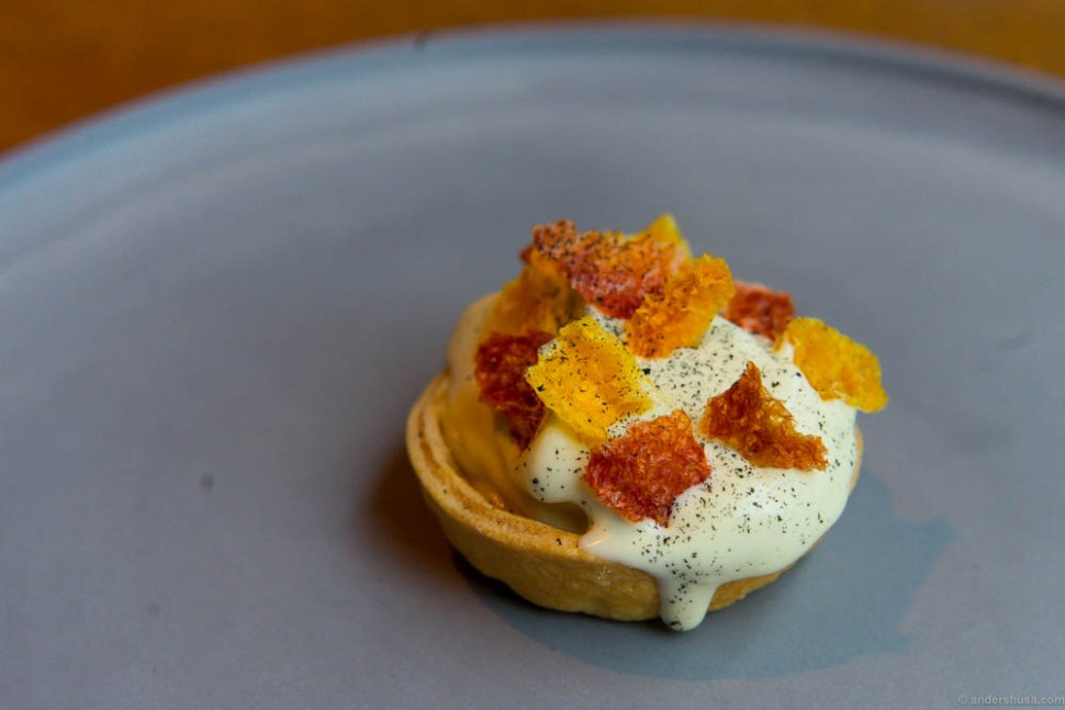 Tart with lemon curd, ice cream infused with firewood & coal, and dried citrus fruits (orange, clementine, and grapefruit).