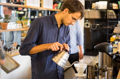 Hipsters brewing hipster coffee for hipsters to enjoy