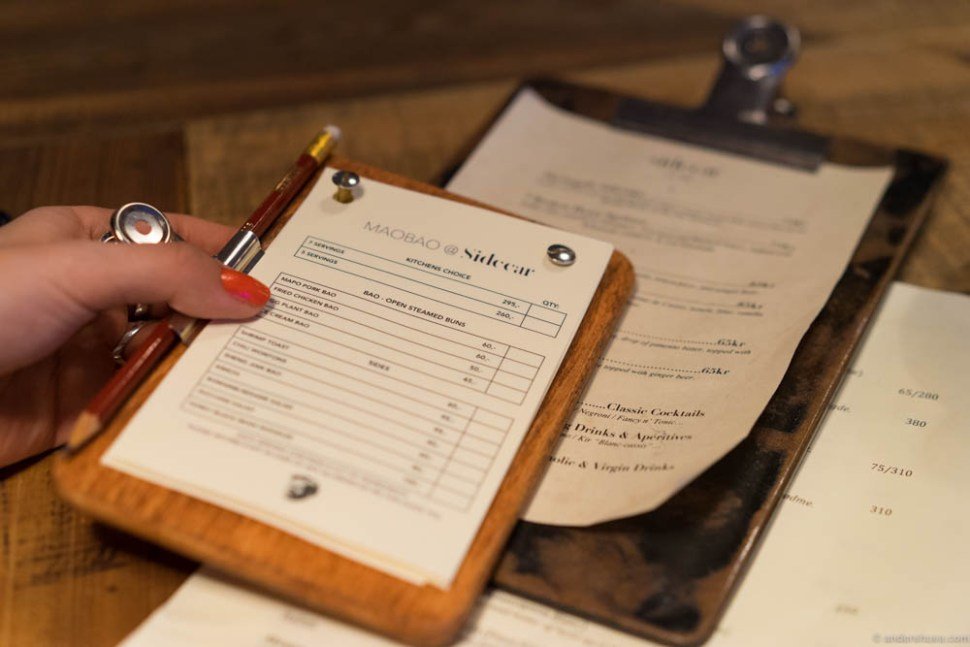 Like in any respectable bao-house you fill out the menu with a pencil and deliver to your waiter