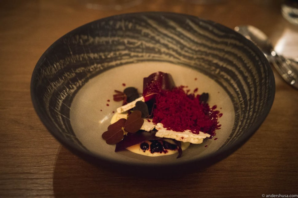 Pickled black currants, red currant flakes, red currants and red beets granita, and thyme and fresh cheese cream