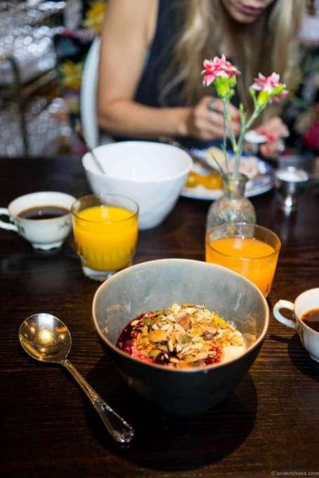 Yogurt, müsli, berries, juice and coffee. Perfect start.