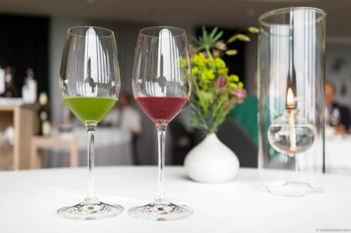 Green sorrel juice, and raspberries, honey & hiprose juice