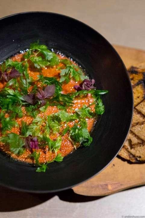 Liver brûlée – Caramelized chicken liver parfait and seasonal herbs