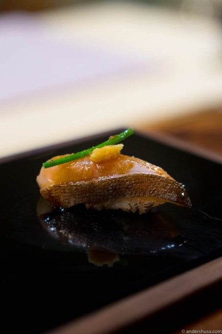 Mountain trout, yuzu pepper, calamansi lime, chive & ginger
