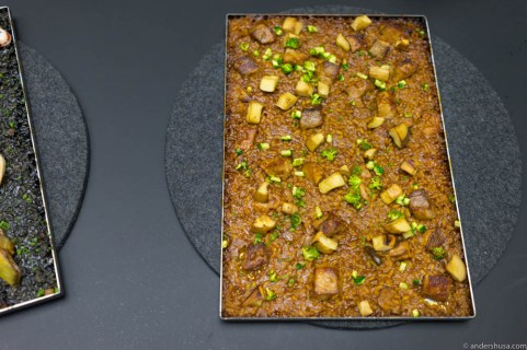 The third paella rice, cooked with Secreto Ibérico pork and vegetables