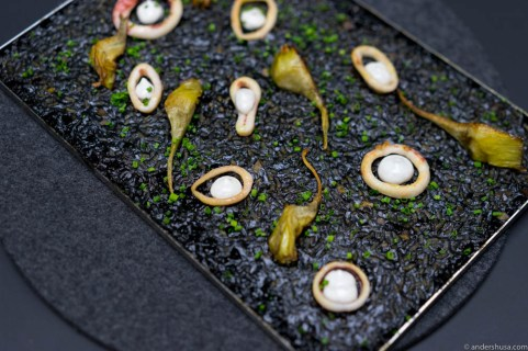 The second paella rice, cooked with squid, garlic and squid ink