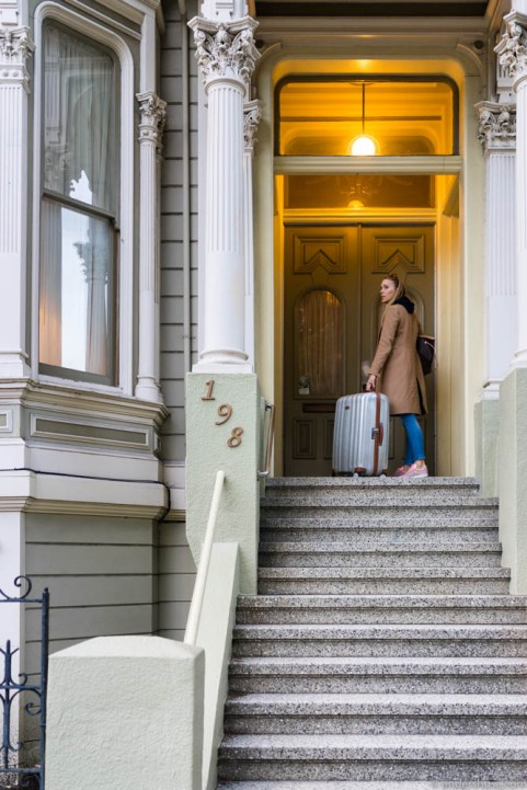Checking in at Hayes Valley with our Samsonite Lite Cube suitcases (sponsored product)