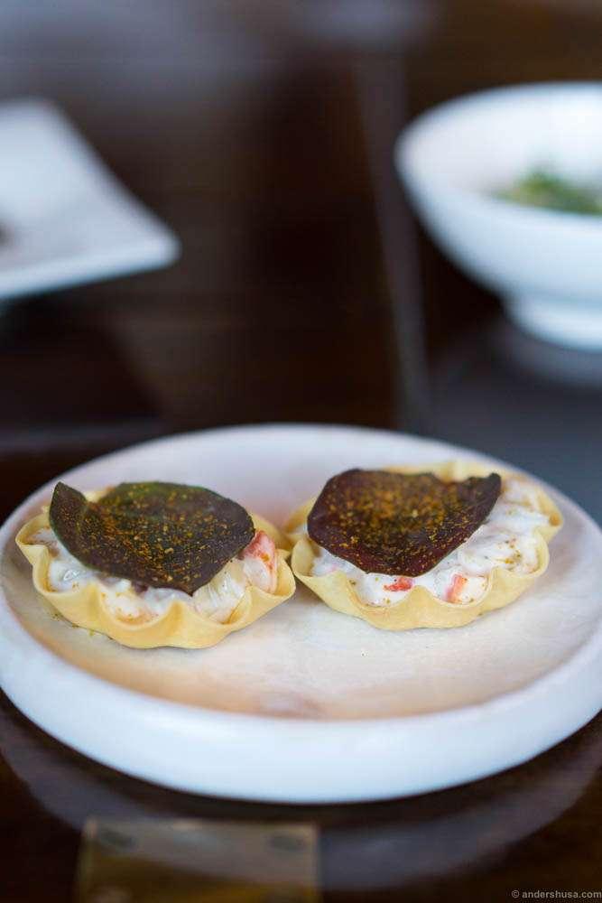 Amuse bouche: A tart of langoustine and truffle.
