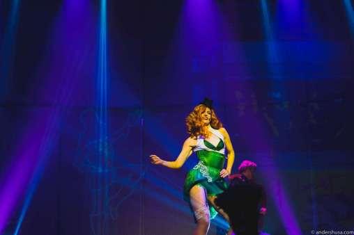 The lady leading the Cirque du Soleil show