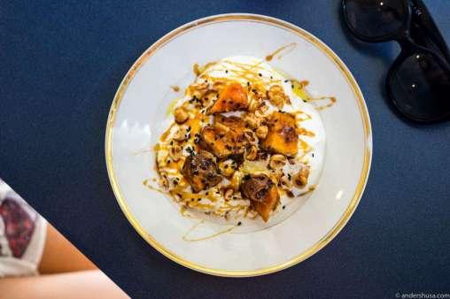 Yogurt with daigakoimo, roasted sesame, dates, hazelnuts, and arbequina oil