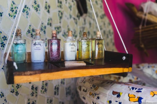 Each room is equipped with a range of treatment oils and soaps