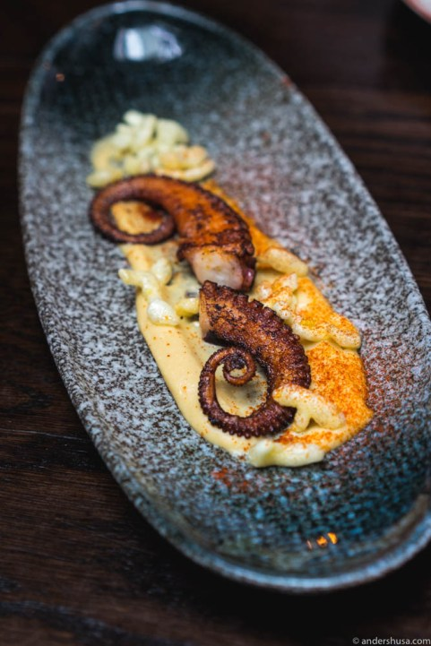 """Pulpo Gallego"" – octopus and hummus"