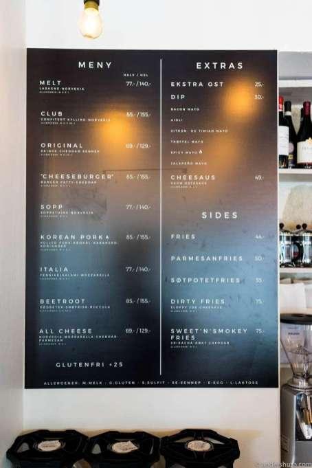 The menu at Melt Oslo