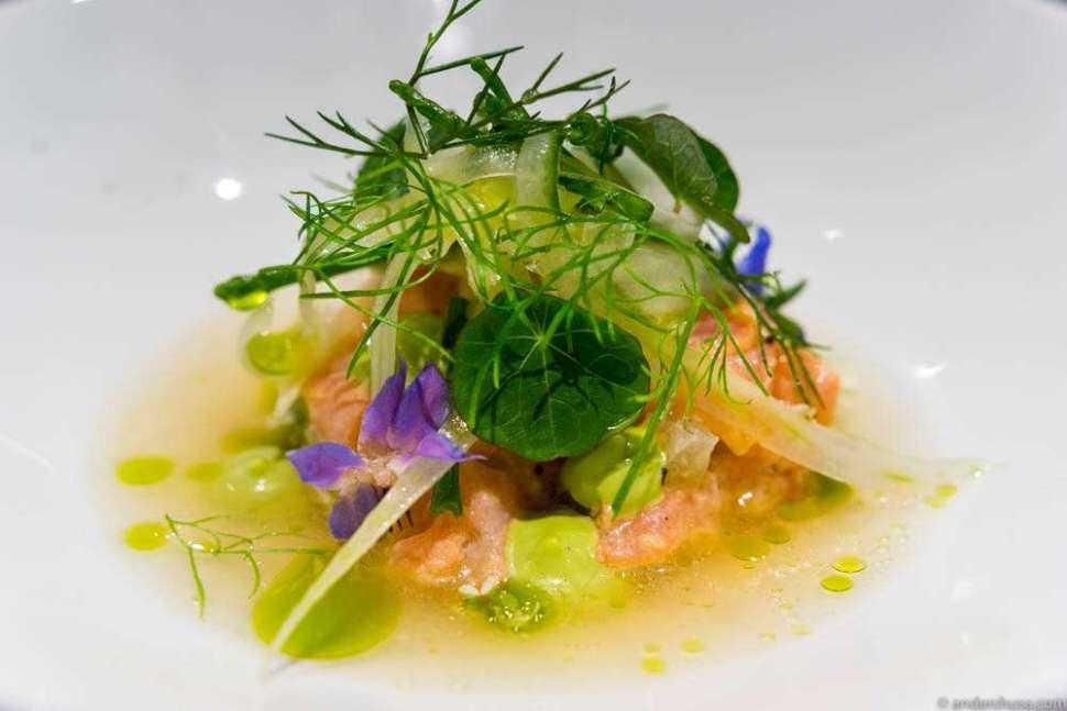 Raw, marinated trout, watercress mayo, fennel grass, seaweed & elderflower bouillon.