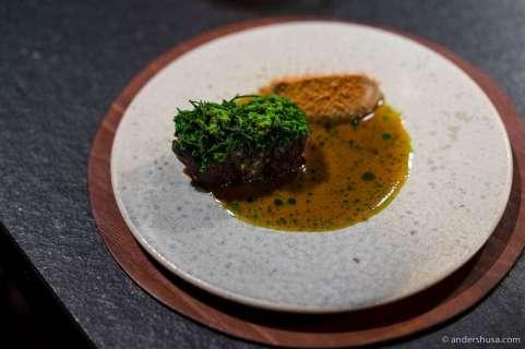 Grilled lamb, parsley root cream, lamb sauce & green onions
