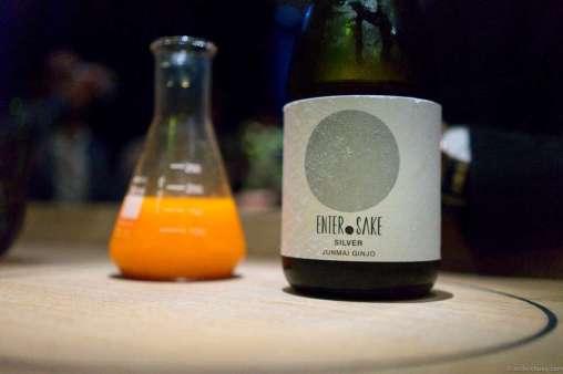 Junmai Ginjo, Enter.Sake Silver, Sekiya Brewery, Aichi, Japan. In the back, carrot lemonade with honey