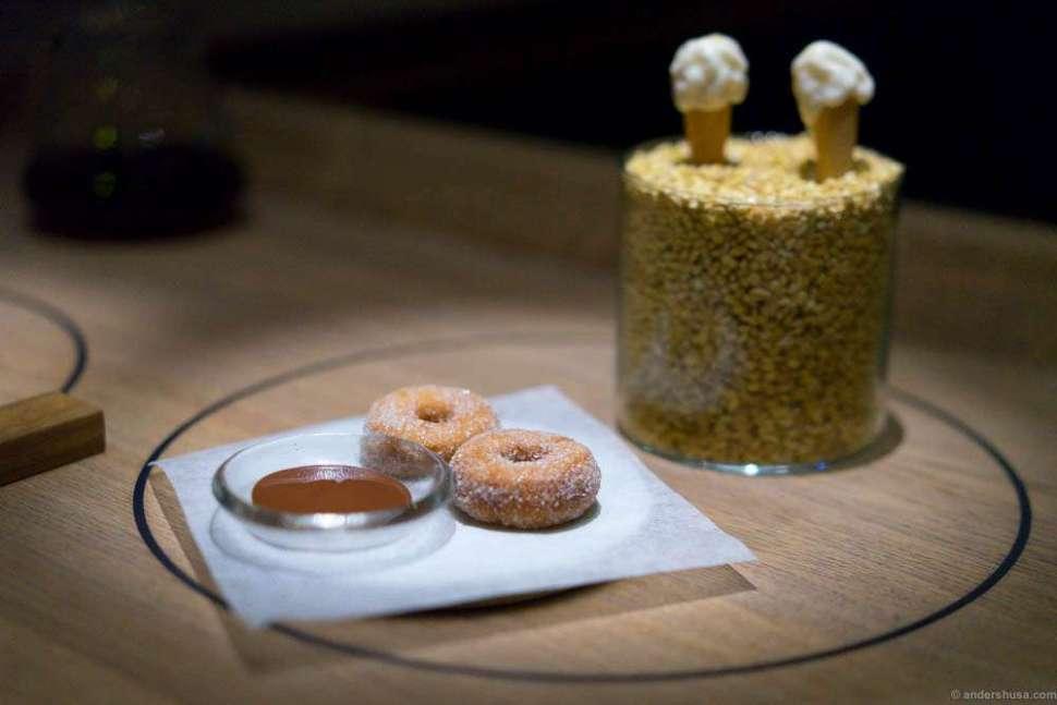 Elderflower cornets and donuts