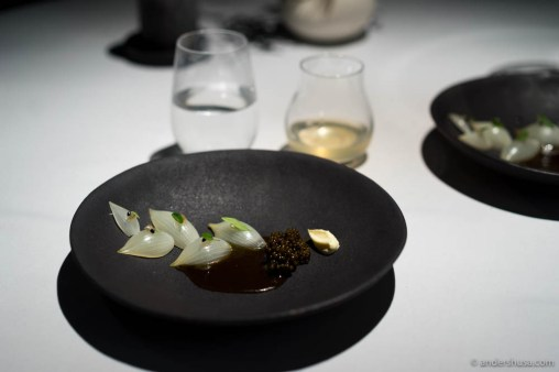 Grille onions, caviar, and lemon verbena by Fredrik Berselius