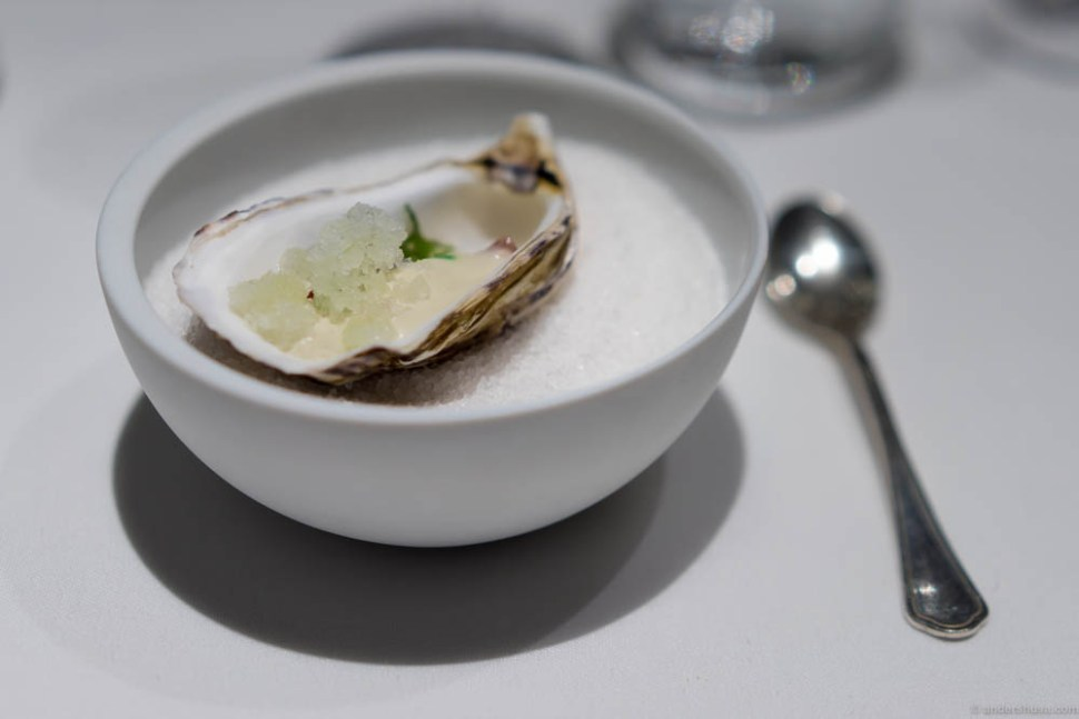Tribute to Normandy – fake oyster of lamb tartare, salty oyster water & apple granita