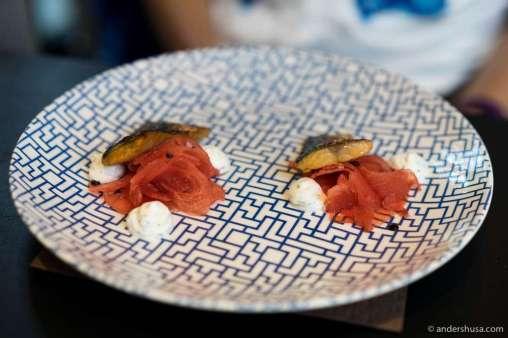 Marinated mackerel, yogurt with herbs & watermelon