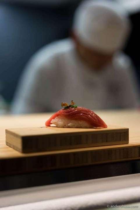 Norwegian tuna with soy-bushi sauce